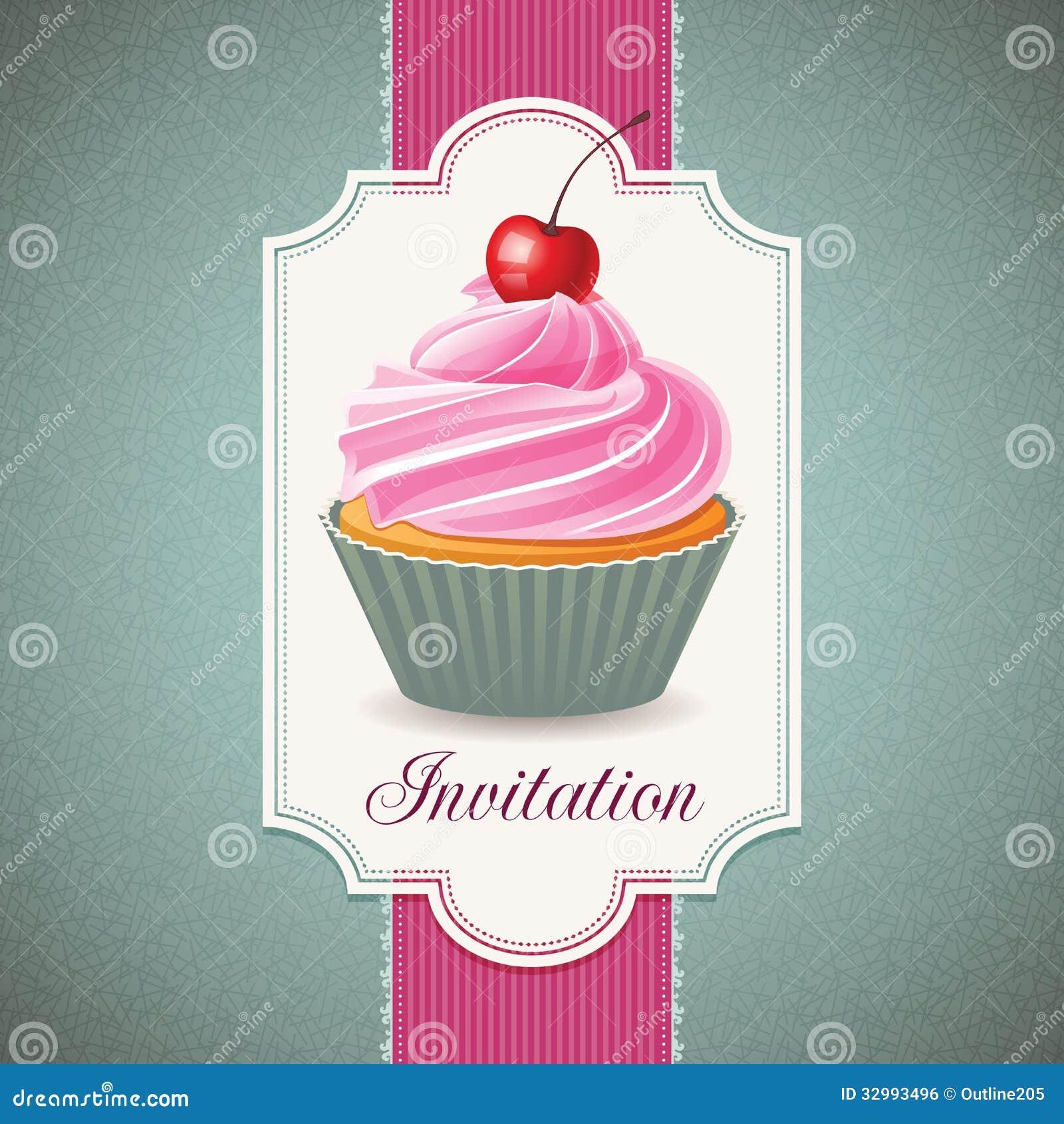 Cupcake Art Design : Vintage Card With Cupcake Royalty Free Stock Image - Image ...