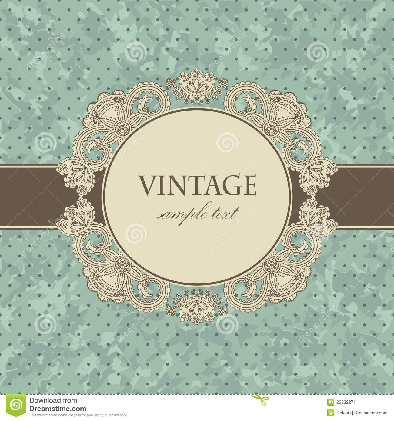 Vintage card with a floral frame stock vector - Retro vintage ...