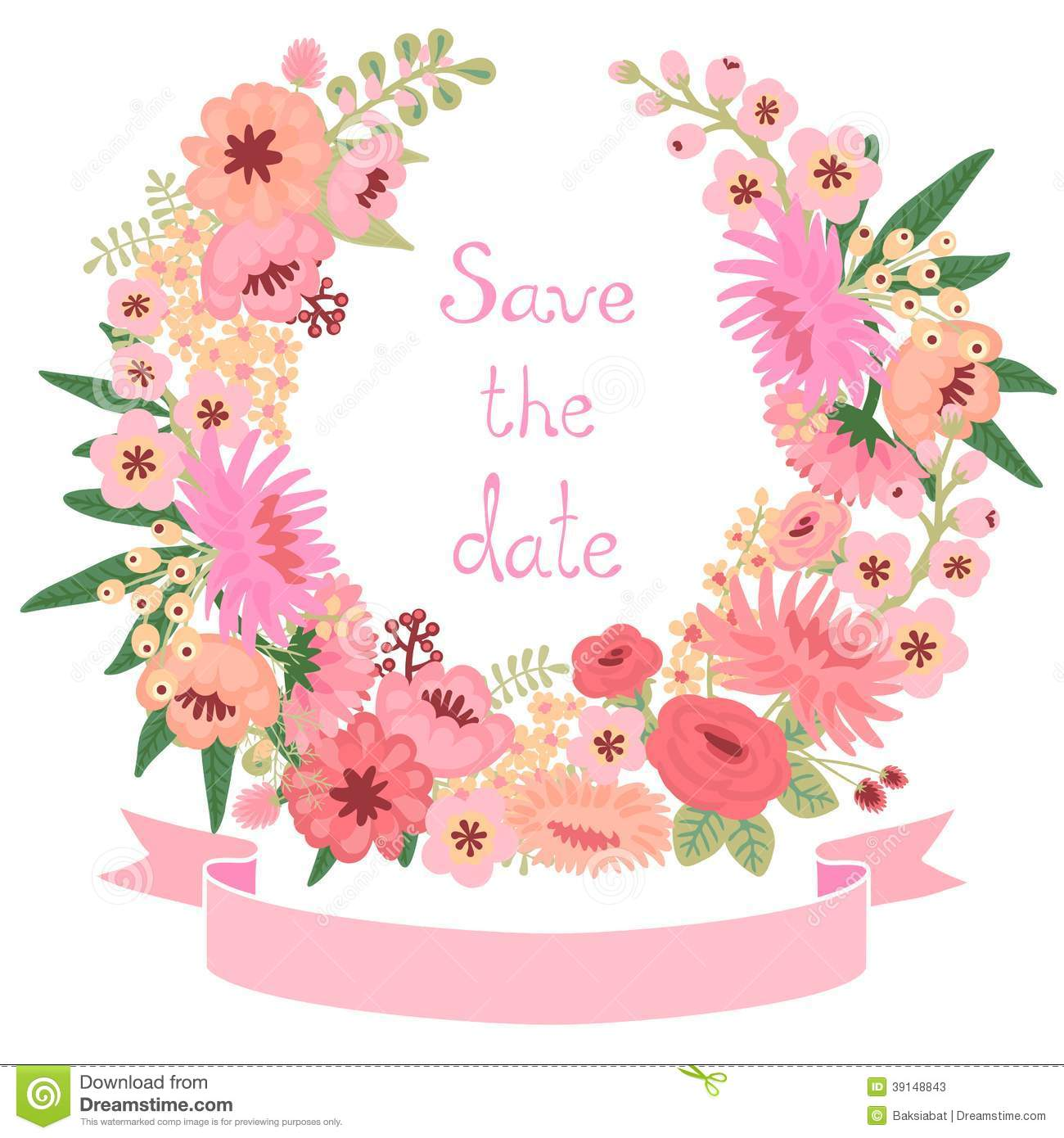 Vintage card with floral wreath. Save the date.