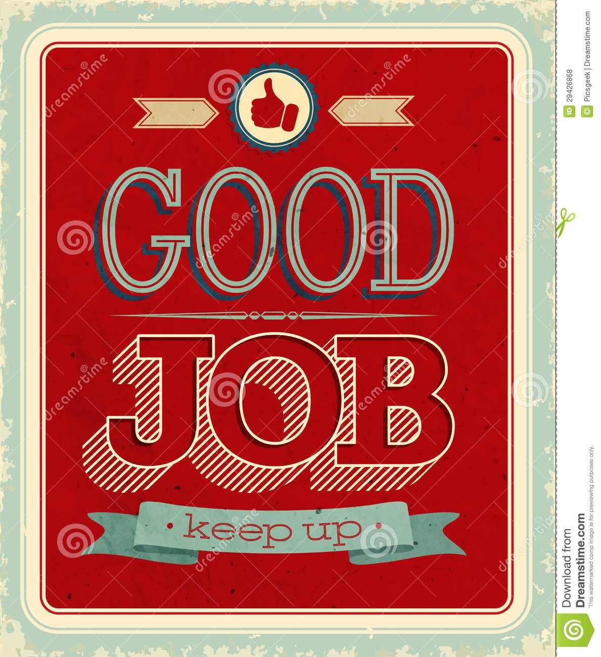 Vintage Card - Good Job. Royalty Free Stock Photos - Image: 29426868