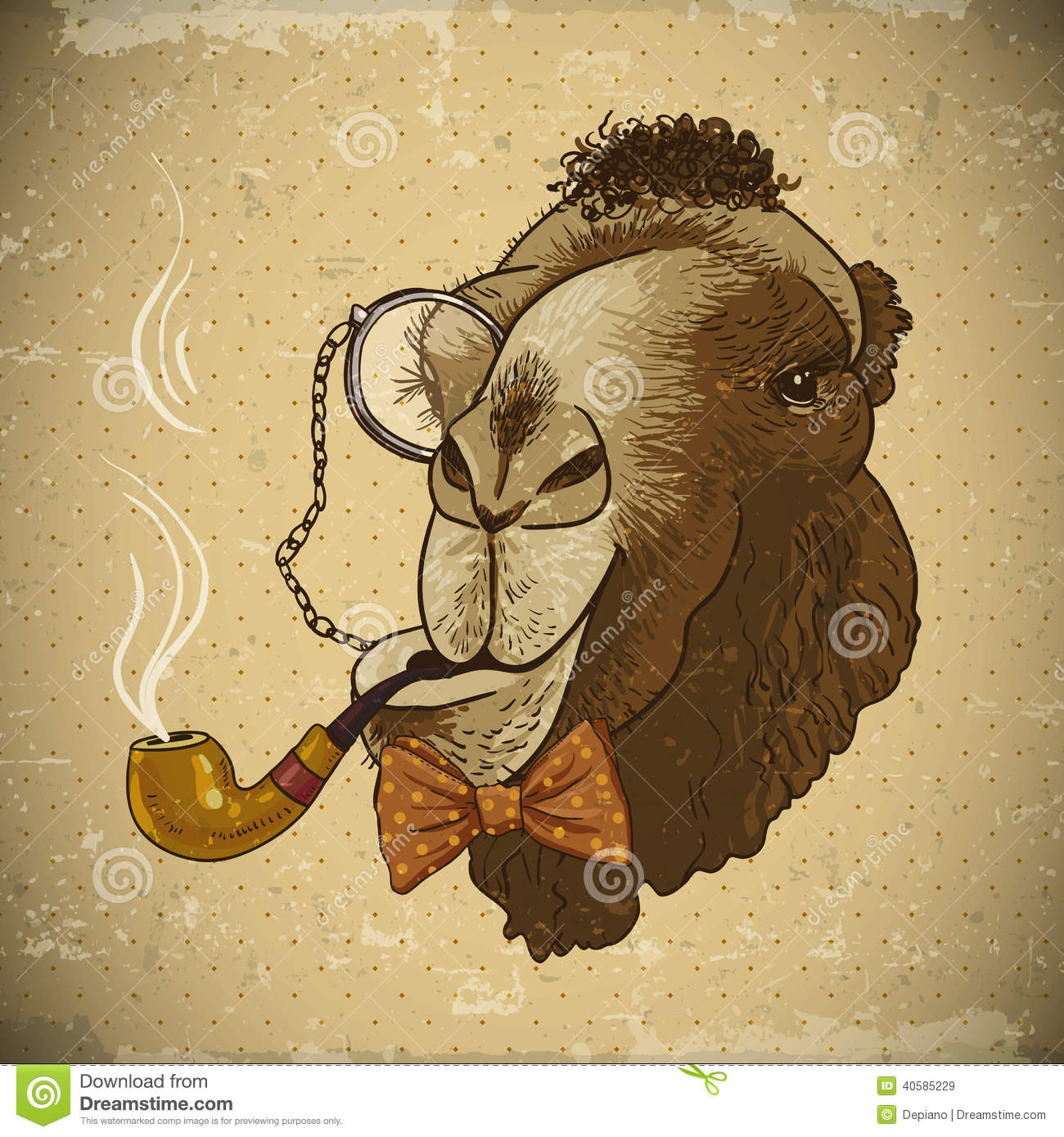 Classic Retro Illustration: Vintage Card Hipster Animal Camel With Pipe Stock Vector