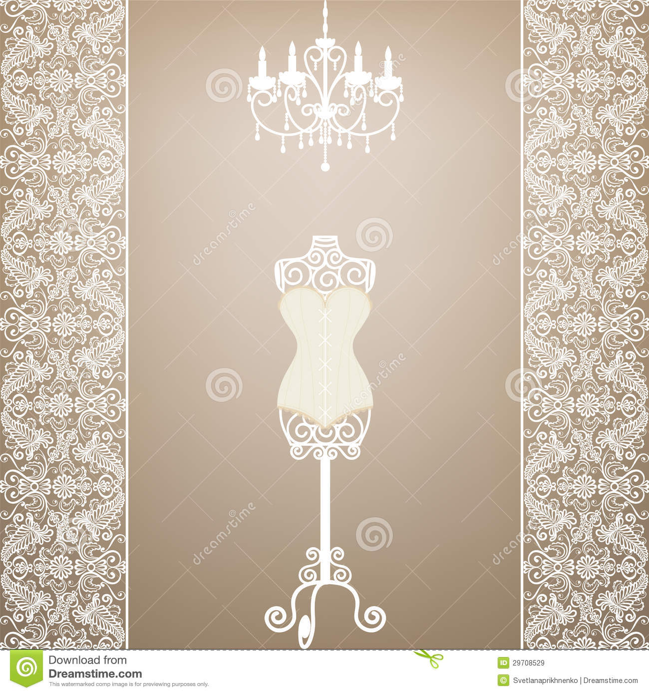 Mannequin and chandelier stock vector illustration of fabric 29708529 mannequin and chandelier arubaitofo Choice Image