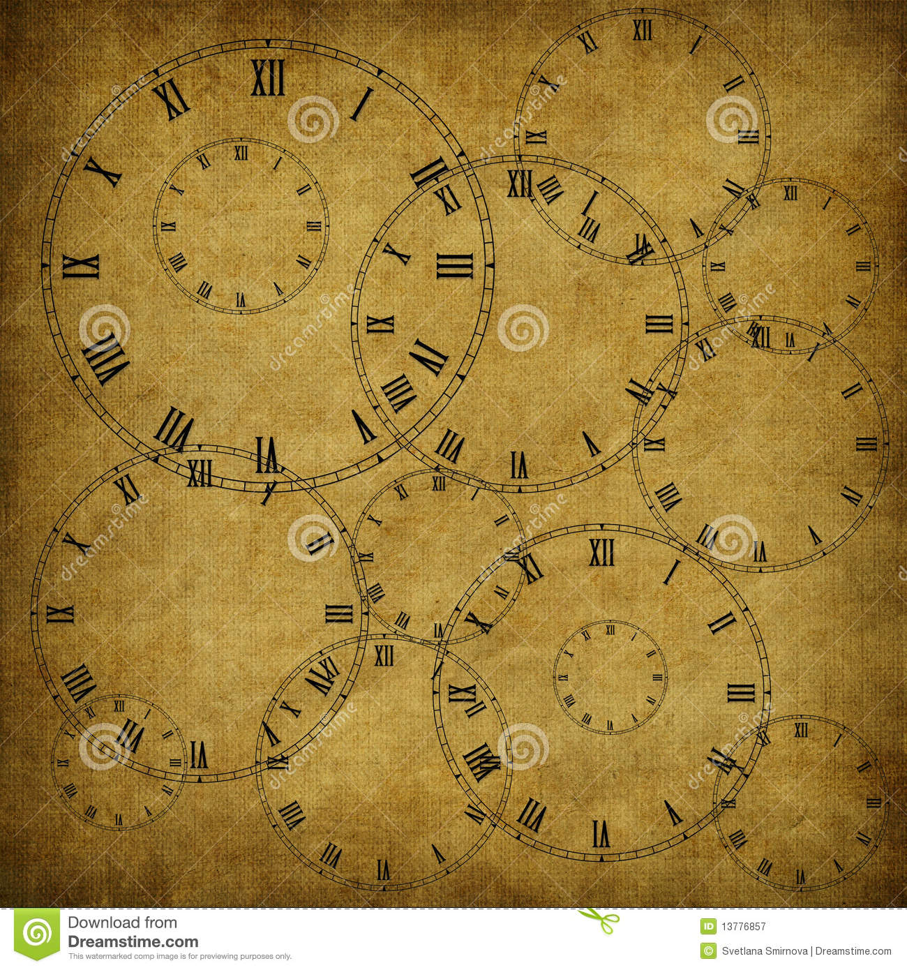 Vintage Card From Old Paper And Clock Royalty Free Stock