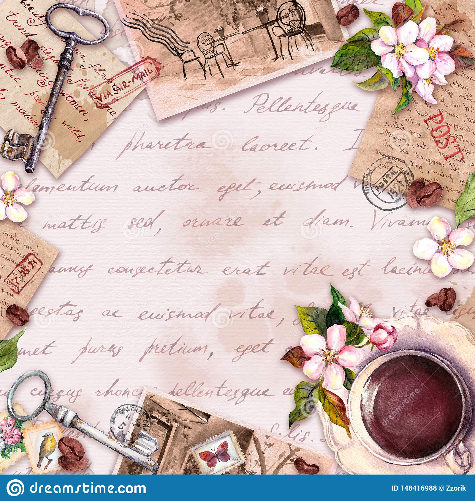 Vintage card with old paper, letters with coffee or tea cup, flowers, hand written text, keys. Retro design in french