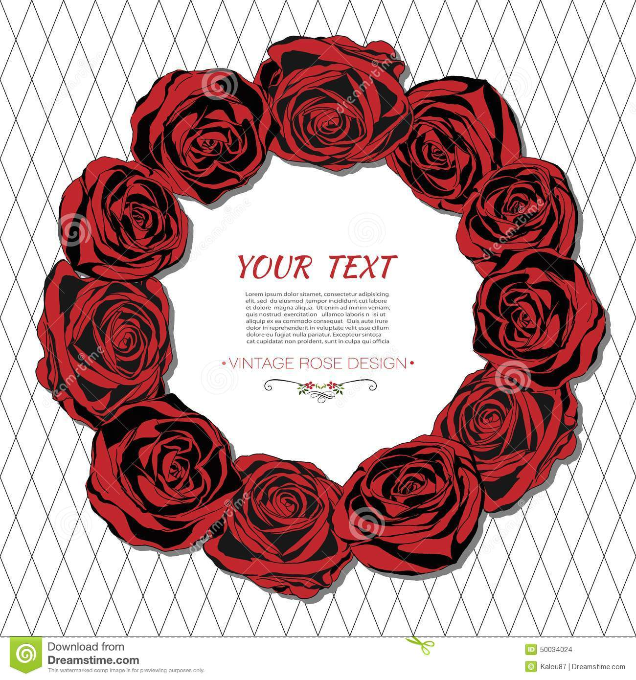 Vintage Card With A Round Frame Of Red Roses. Stock Vector ...