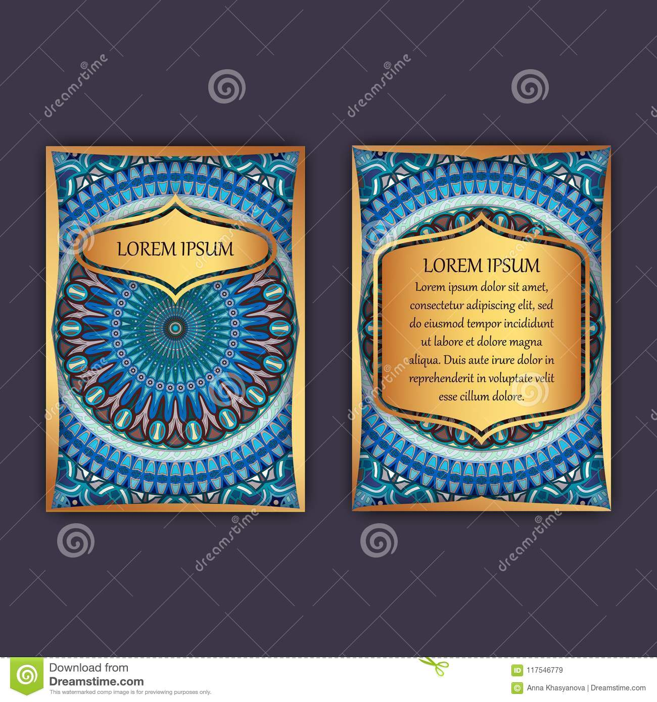 download vintage cards with floral mandala pattern and ornaments front page and back page