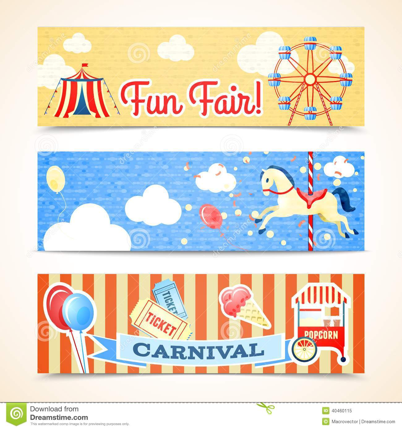 Vintage Carnival Banners Horizontal Stock Vector
