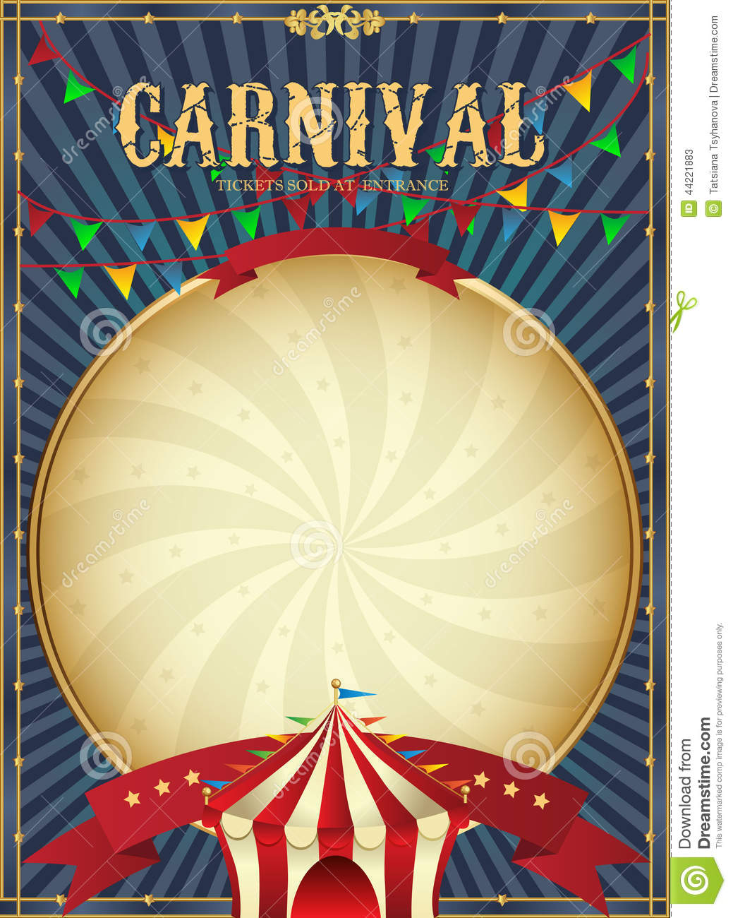 Vintage Carnival. Circus Poster Template. Vector ...