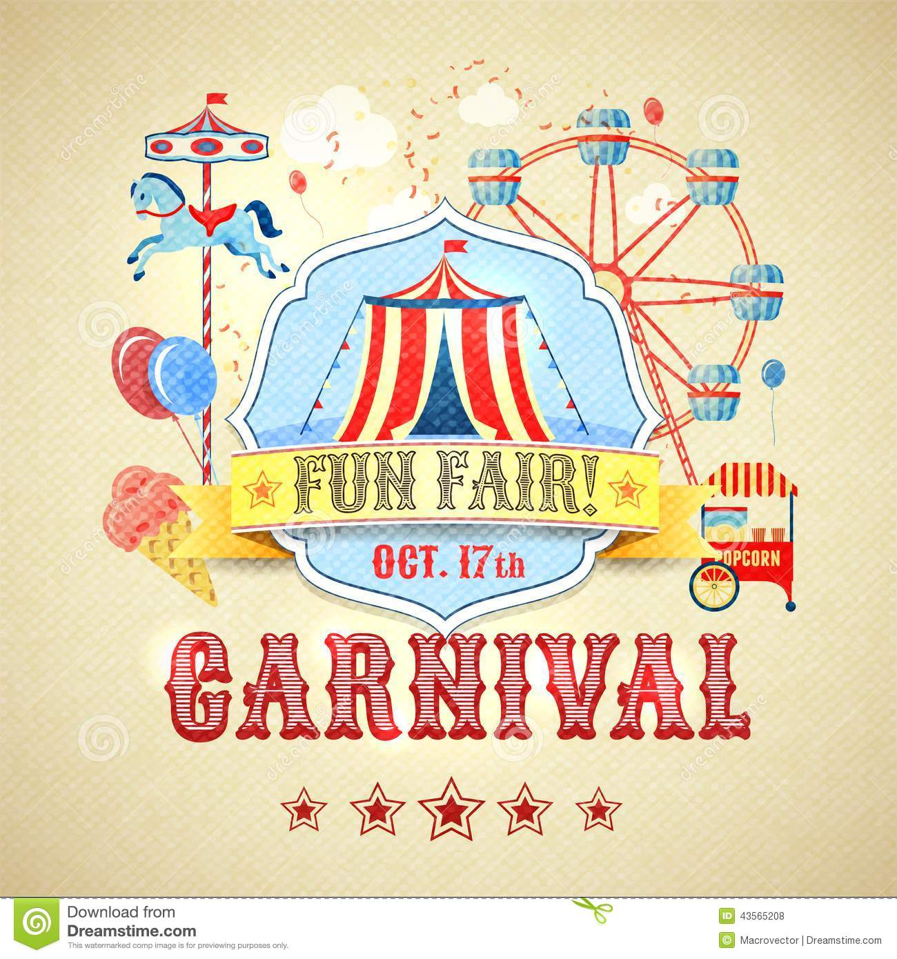 Vintage Carnival Poster Stock Vector - Image: 43565208
