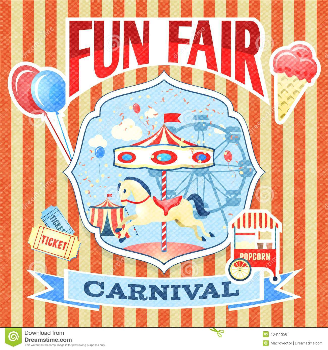 Vintage Carnival Poster Template Stock Vector - Image ...