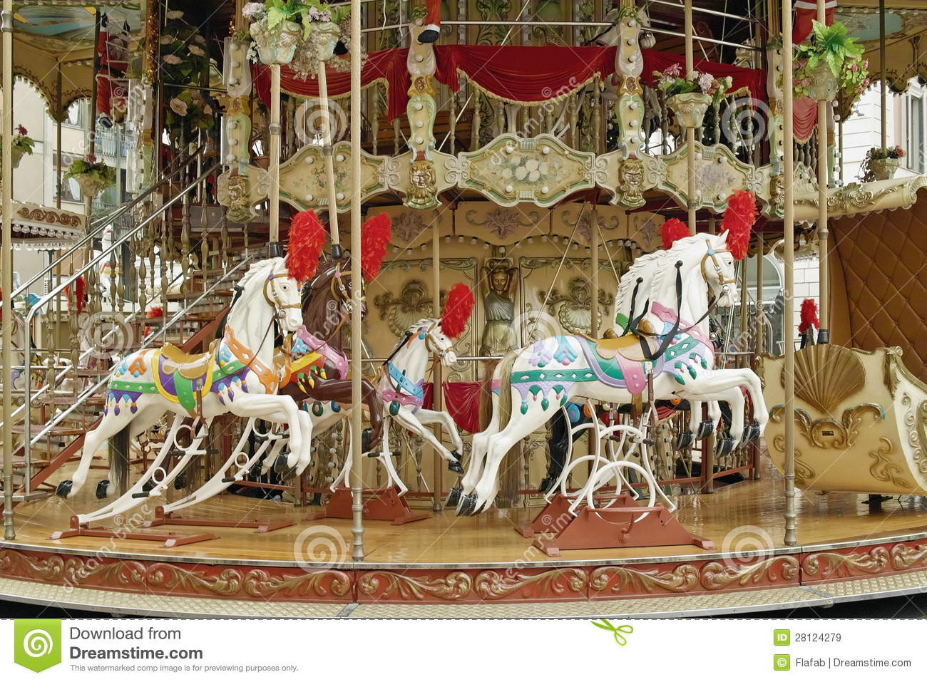Vintage carousel stock image. Image of recreation, park ...