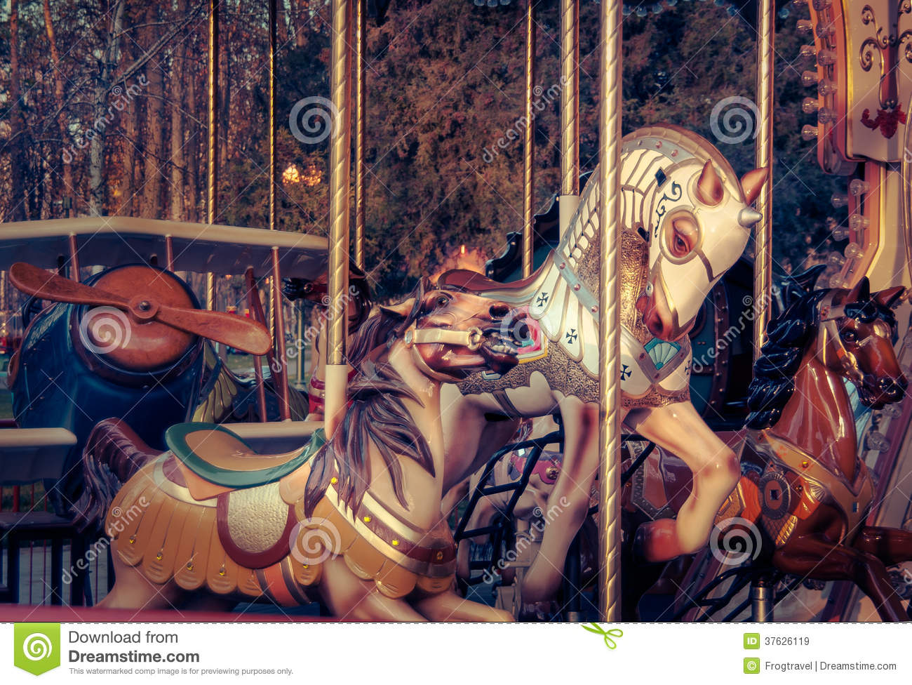 Download Vintage carousel stock image. Image of outside, merry - 37626119