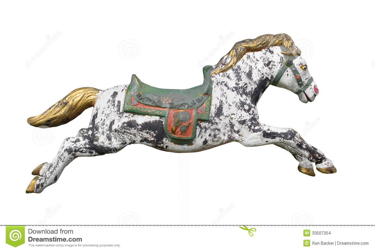 Vintage Carousel Horse Isolated Stock Images Image