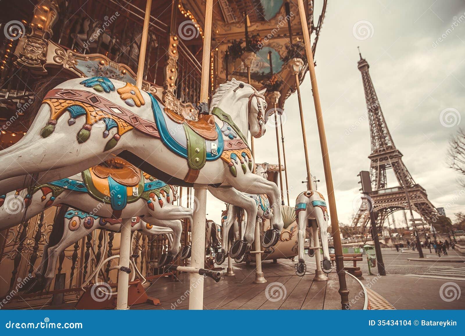 Vintage Carousel In Paris Stock Images - Image: 35434104