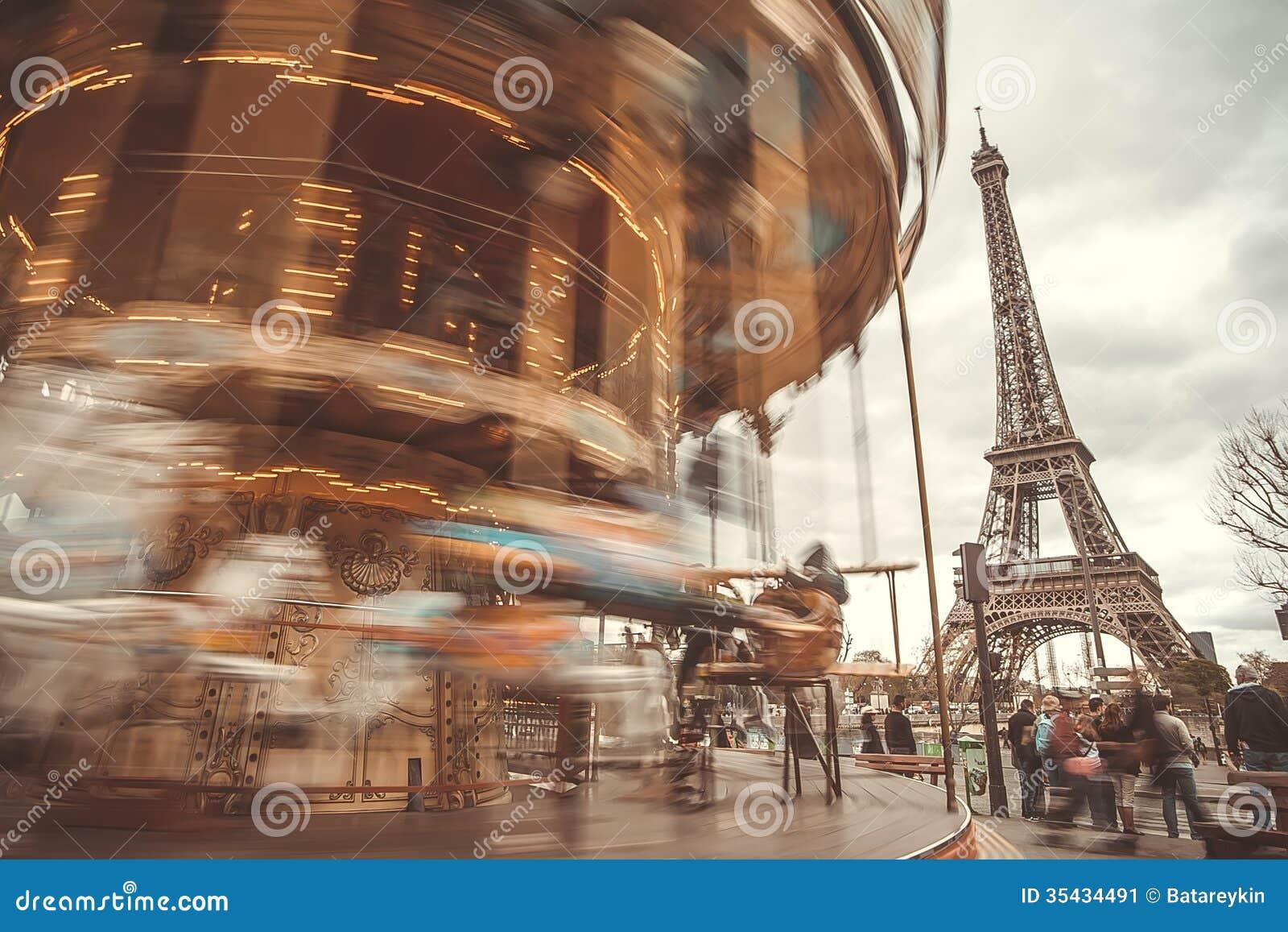 Vintage Carousel In Paris Stock Image - Image: 35434491