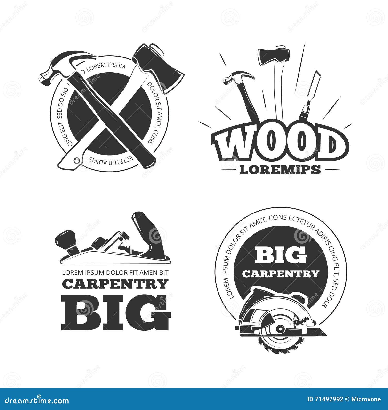 Vintage carpentry vector labels, emblems, badges and logos set