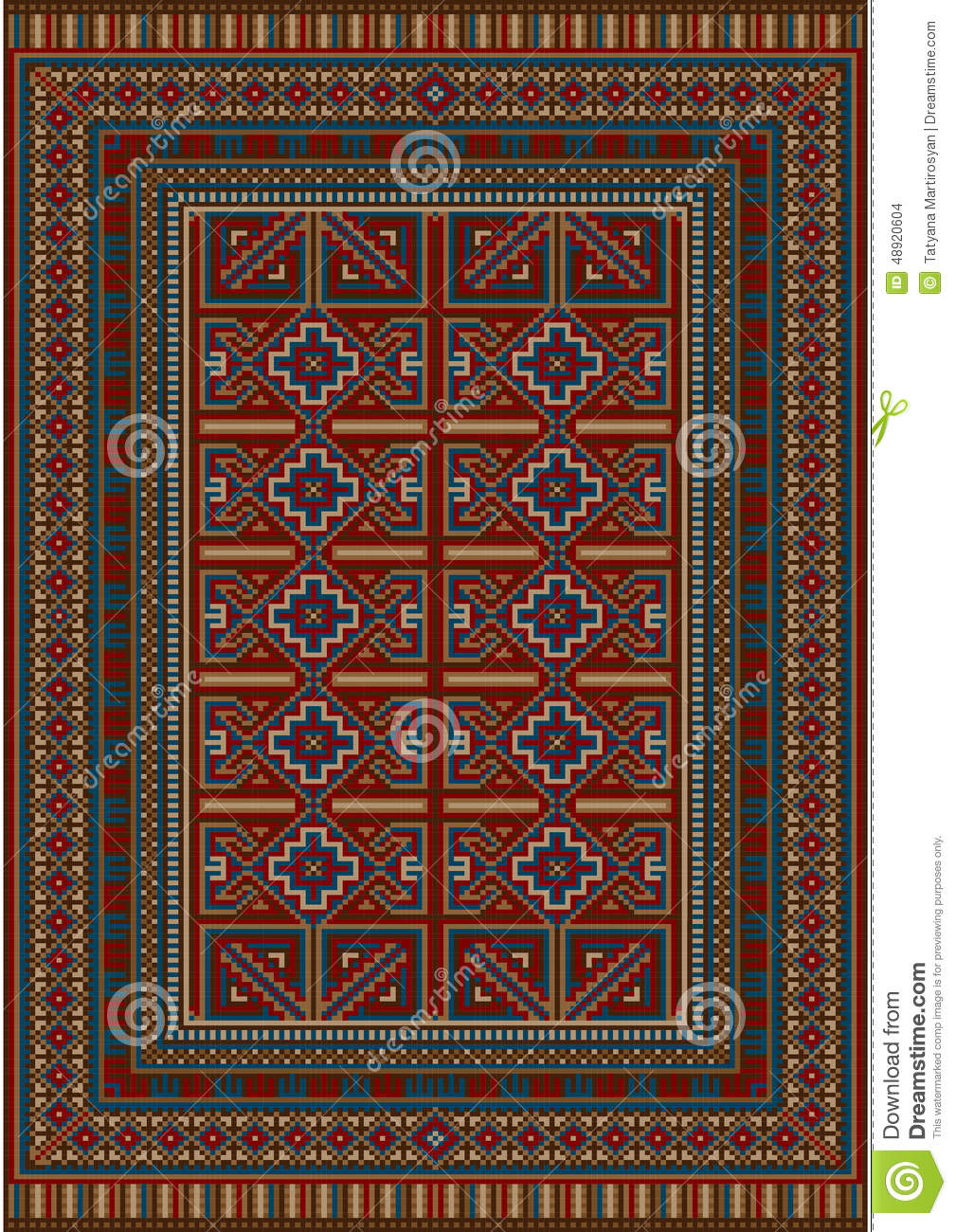 Vintage Carpet Decorated With Geometric Designs Stock