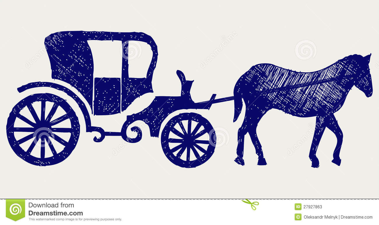 Royal carriage in silhouette royalty free stock vector art - Vintage Carriage And Horse Stock Photos Image 27927863