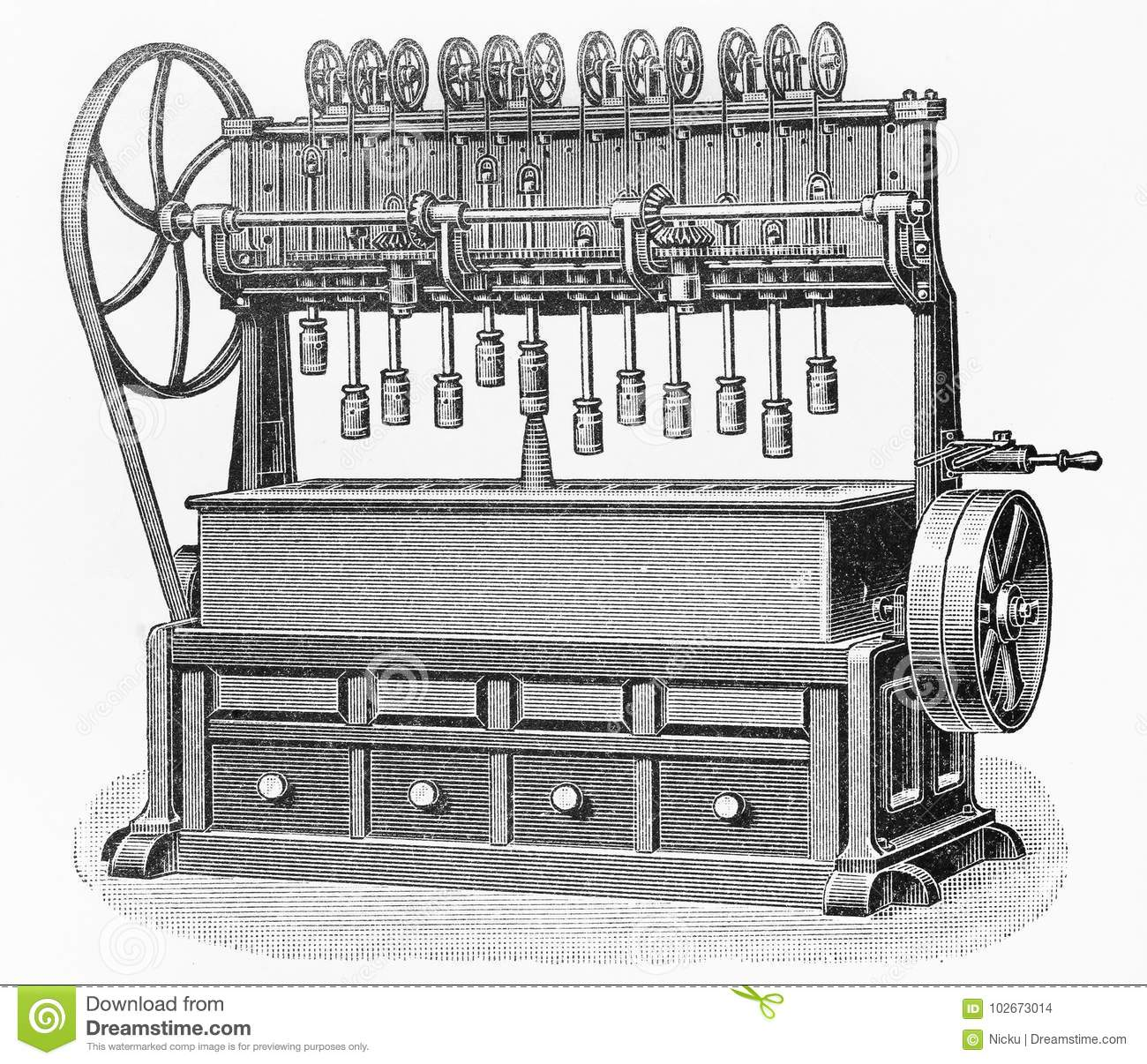 Vintage Carrots processing machine drawing