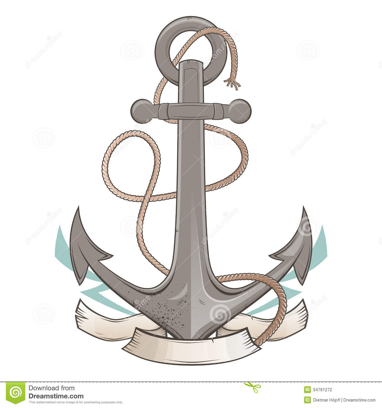 Vintage Cartoon Anchor Stock Vector Illustration Of Isolated