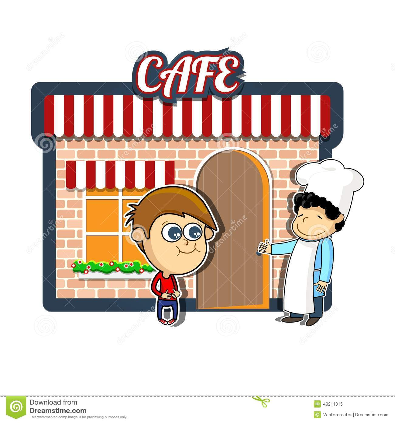 Vintage cartoon illustration of cafe or restaurant with hungry boy and ...
