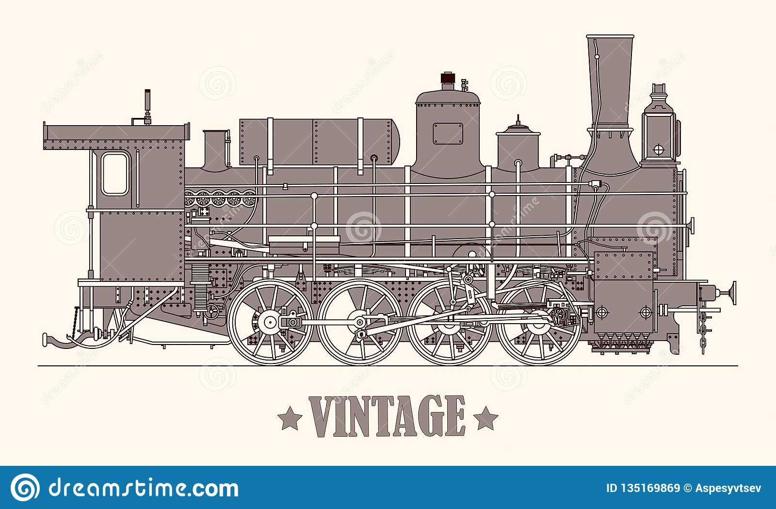 Vintage cartoon hand drawn steam locomotive train. Vector illustration