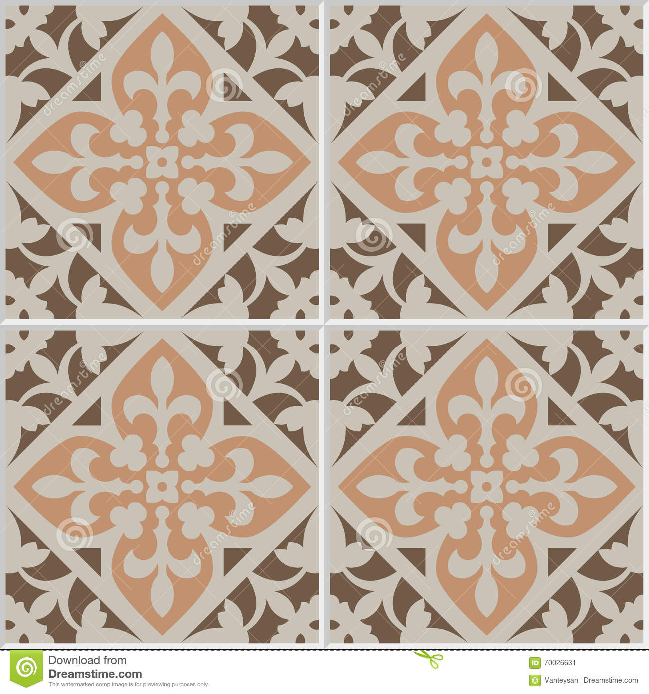 Floor Tile Seamless Pattern Traditional Ornate Red Floral Design