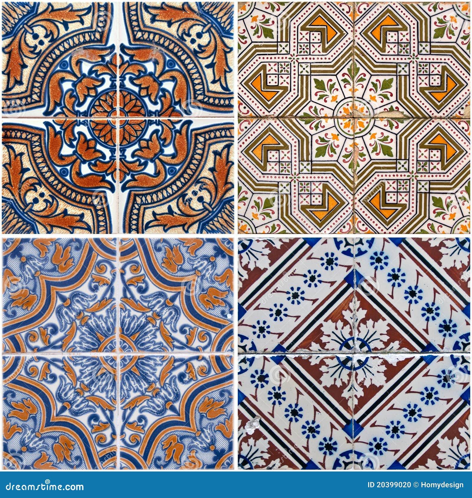 Designer White Abstract Ceramic Wall Tile Pack Of 8 L: Vintage Ceramic Tiles Stock Photo