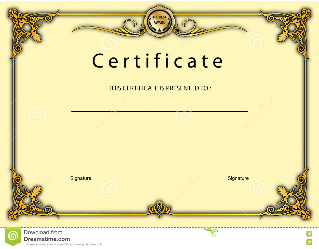 Vintage Certificate Award / Diploma Template Stock Illustration ...