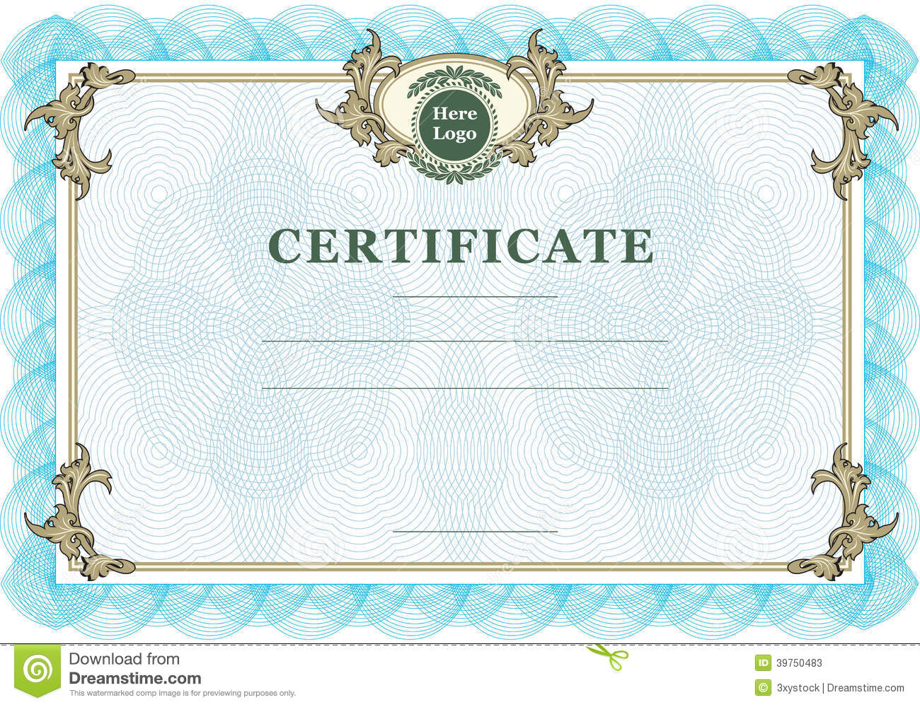 vintage certificate stock vector  illustration of