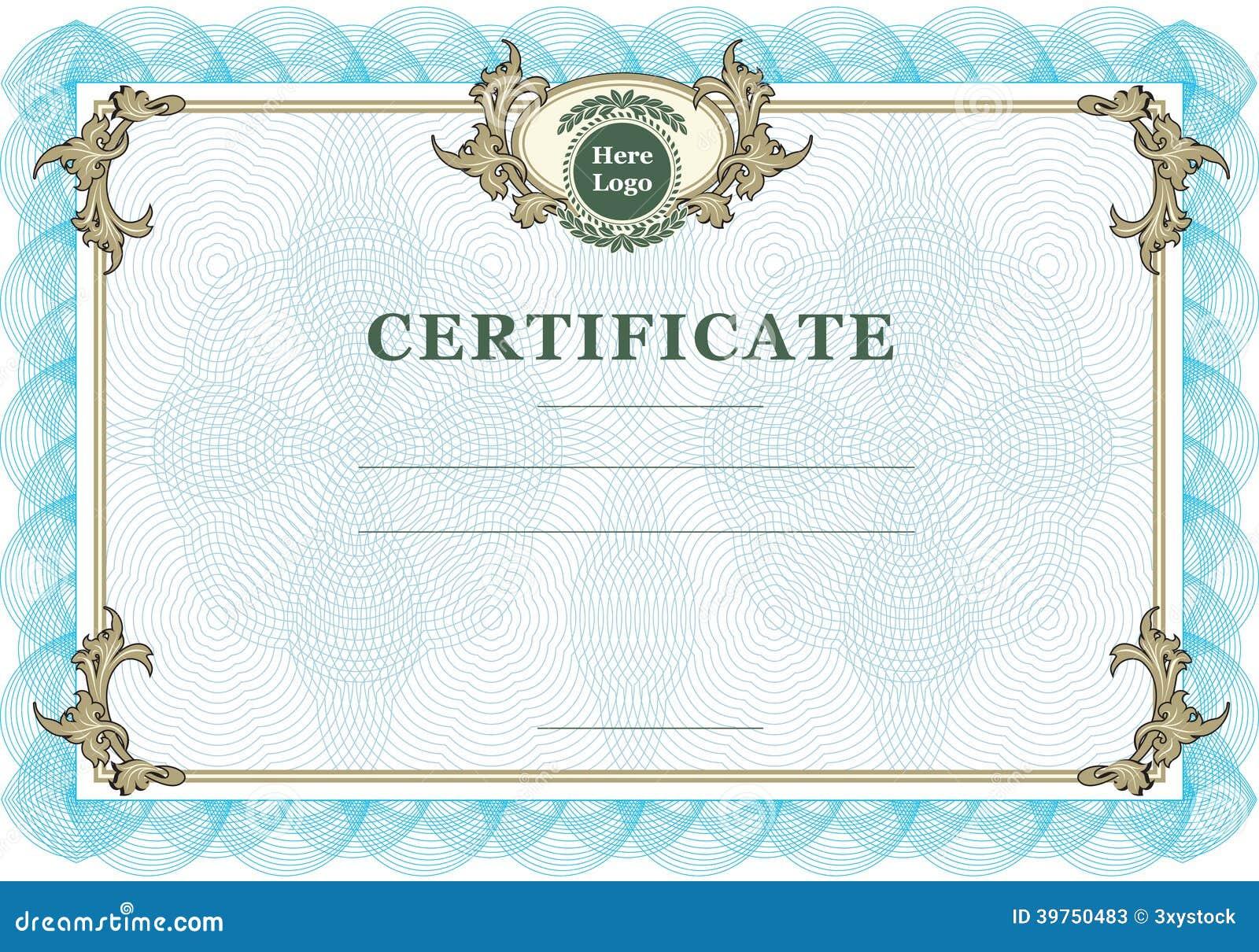 Vintage Certificate Stock Vector Image 39750483