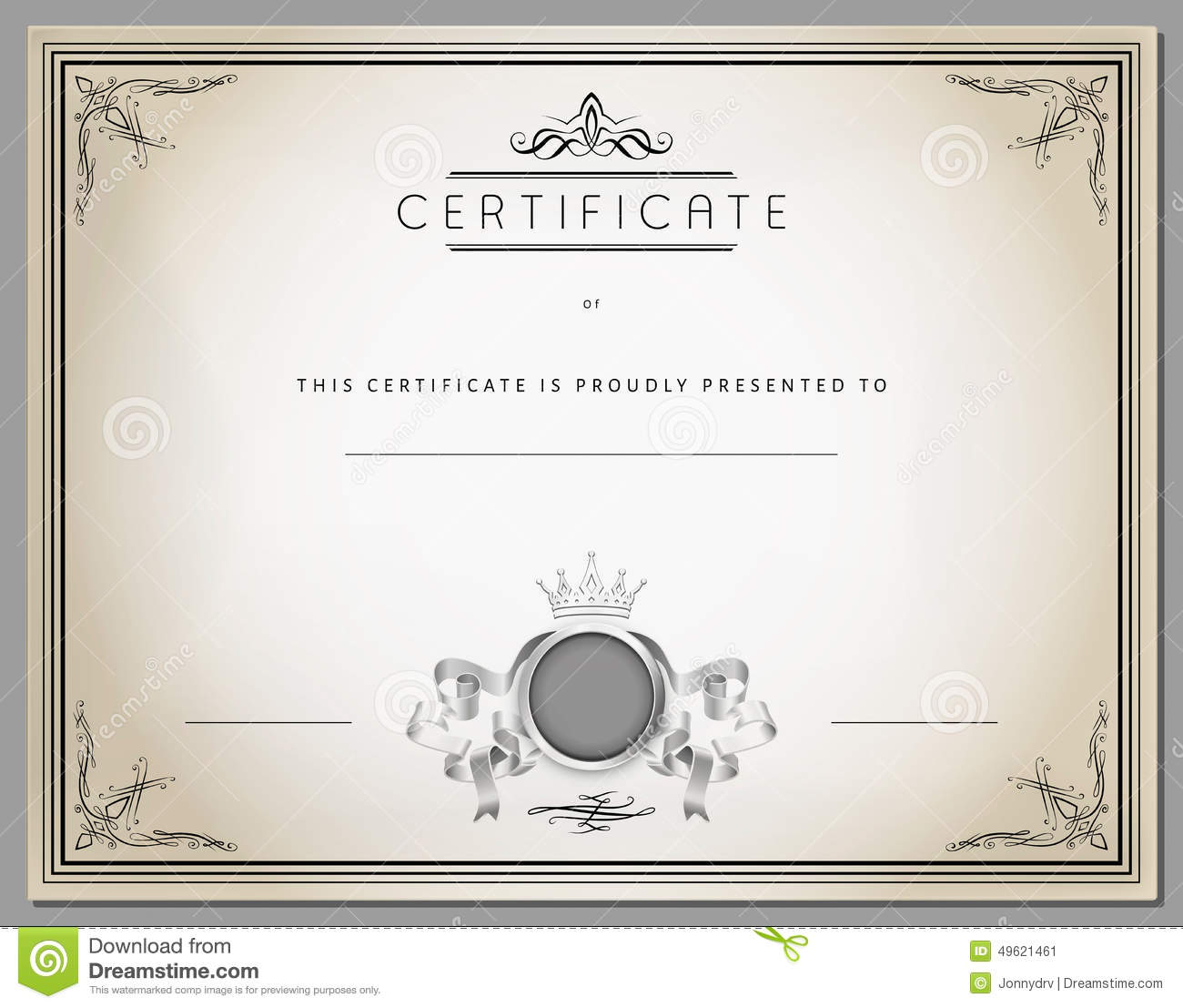 vintage certificate template with detailed border in
