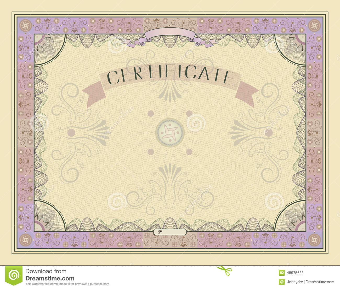 Vintage certificate template with detailed border and calligraphic ...
