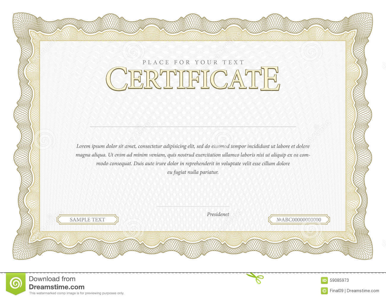 vintage certificate template diplomas currency stock