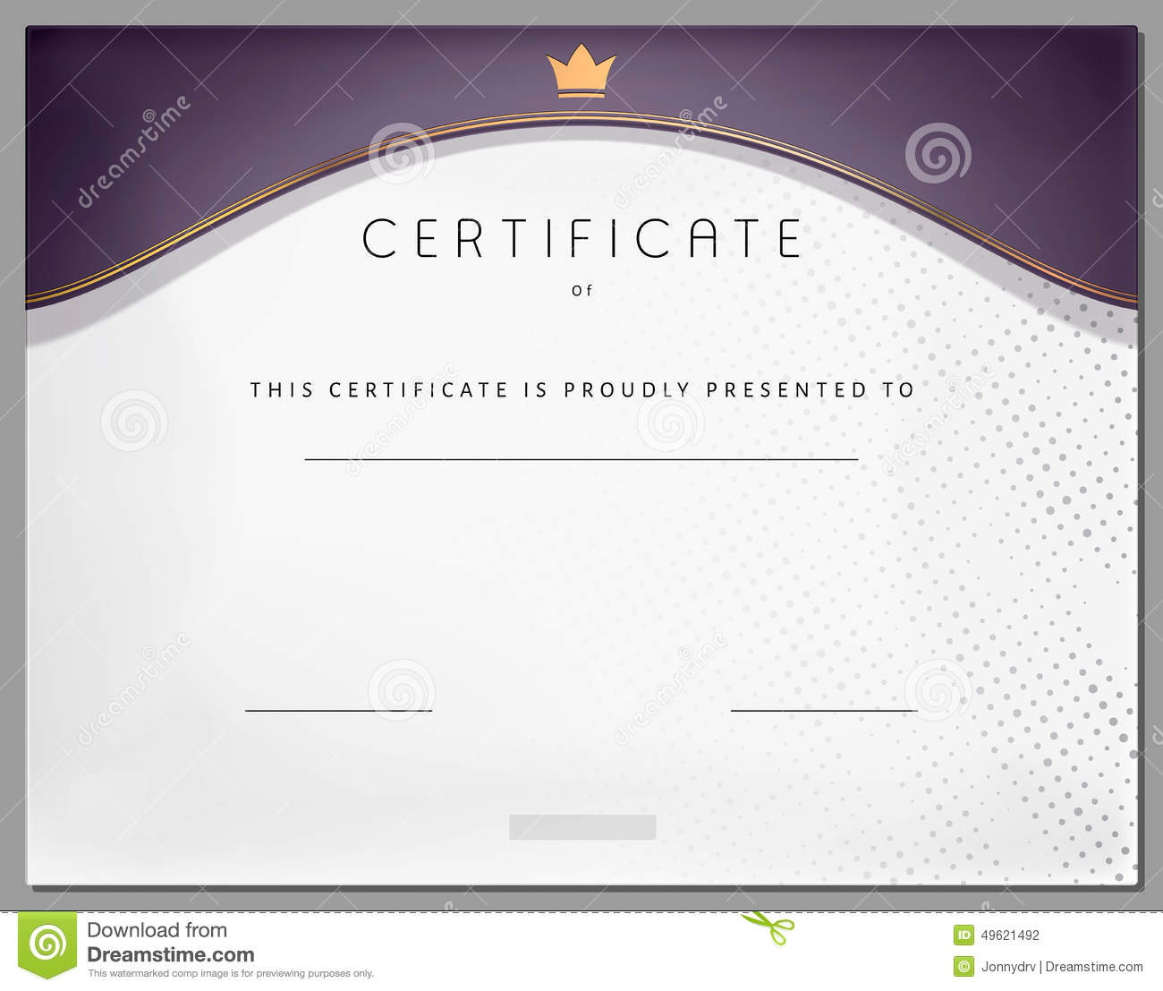 Vintage certificate template with purple border and golden elements on ...