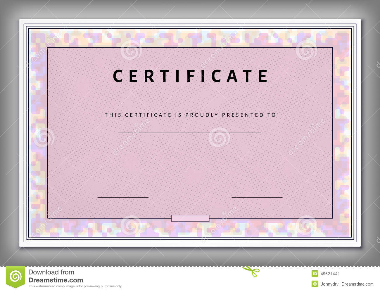 Vintage Certificate Template With Spotted Frame In Vector Stock Vector ...