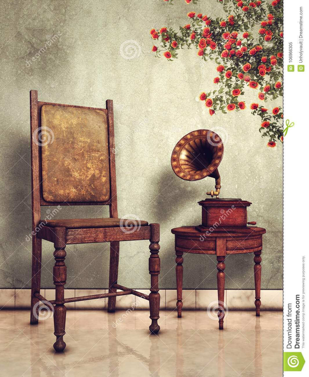 Vintage chair and gramophone