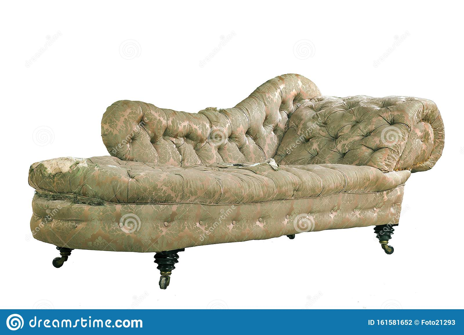 - Vintage Chaise Longue Shabby Original Isolated On White Stock