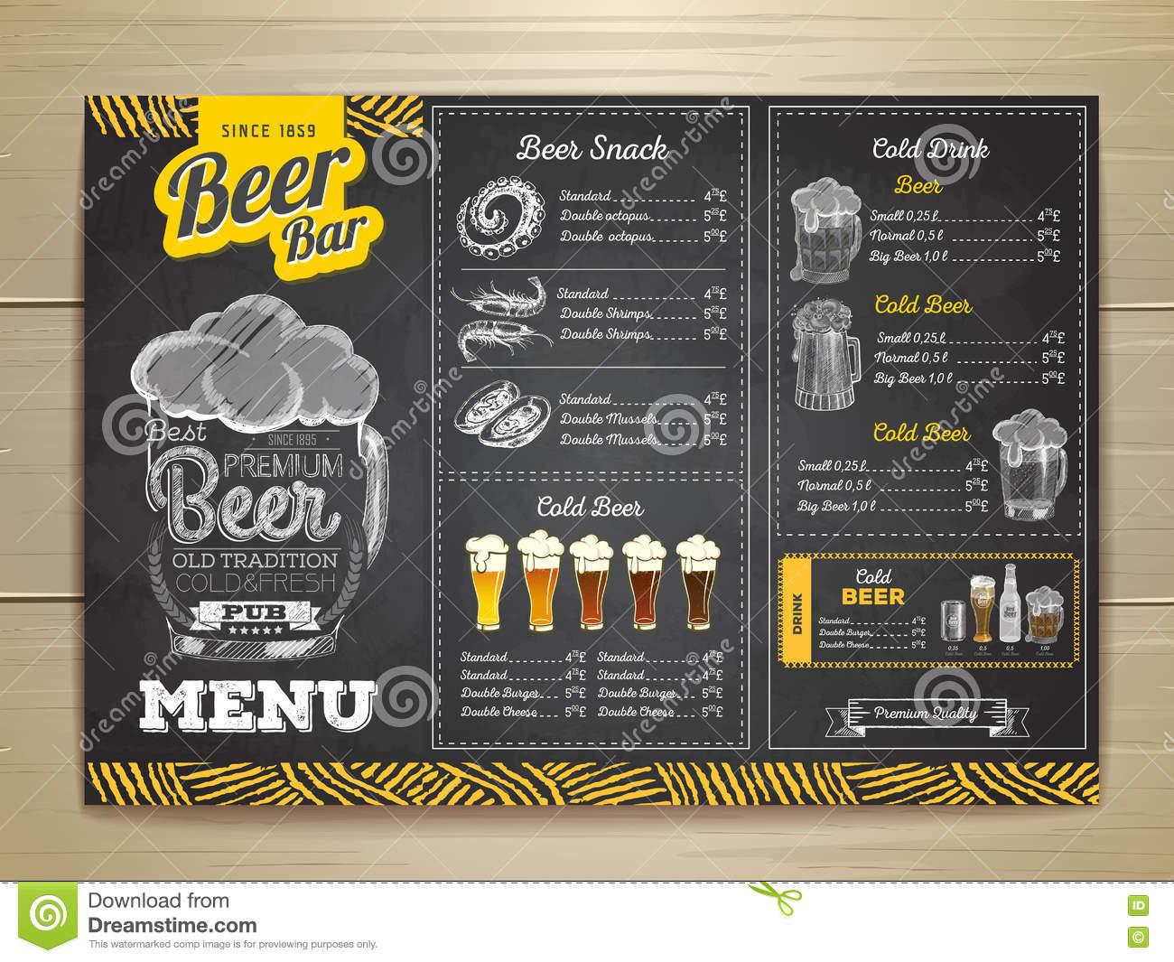 Vintage Chalk Drawing Beer Menu Design Vector Image 72390168 – Beer Menu