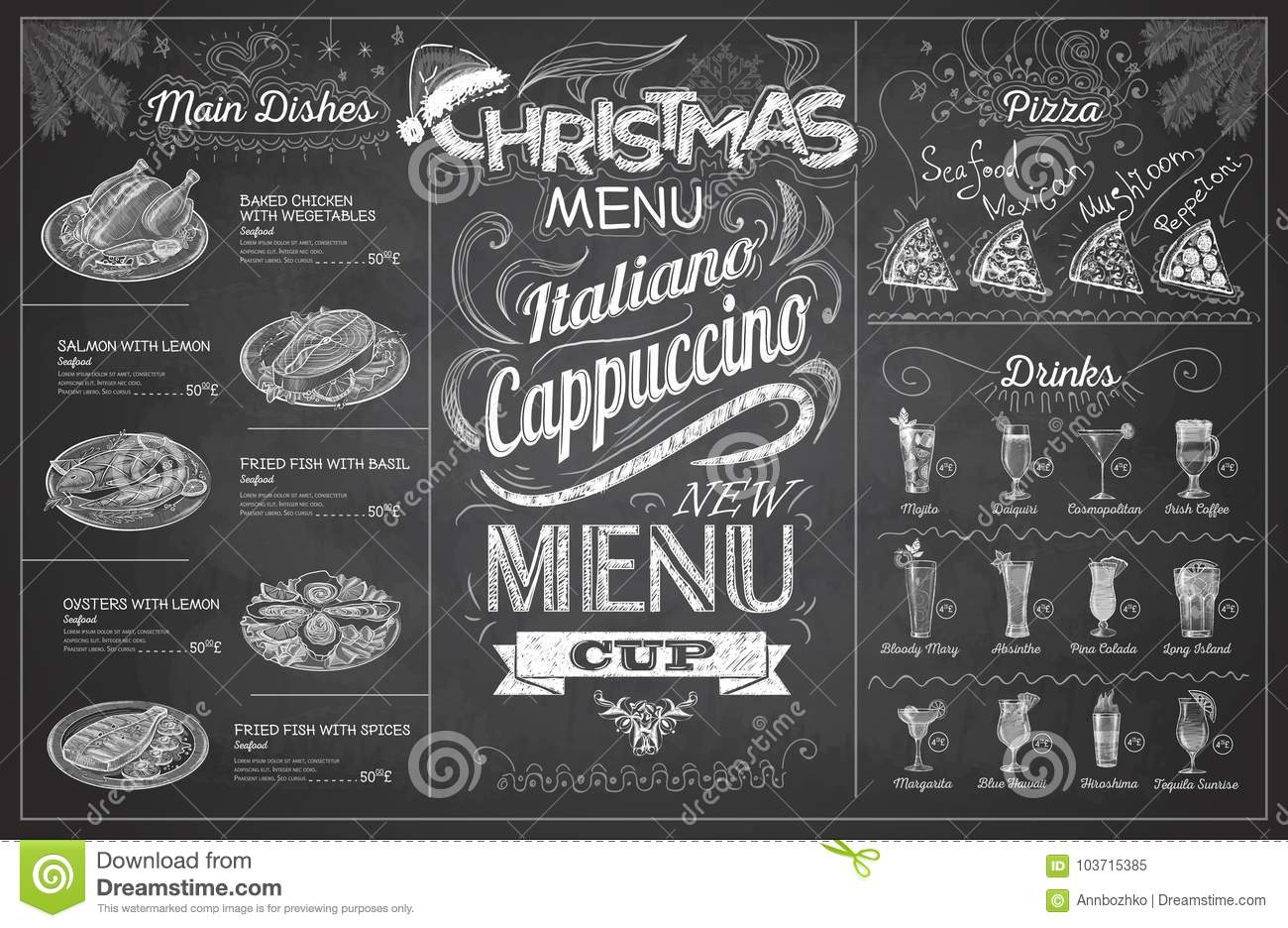 download vintage chalk drawing christmas menu design restaurant menu stock vector illustration of drink