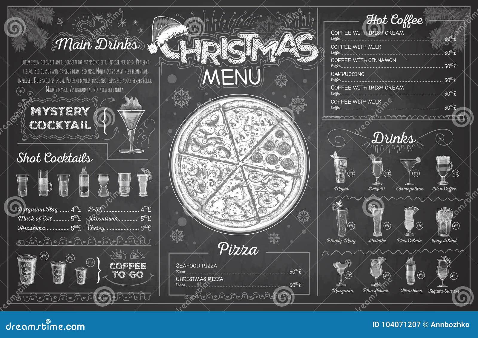 vintage chalk drawing christmas menu design restaurant menu stock