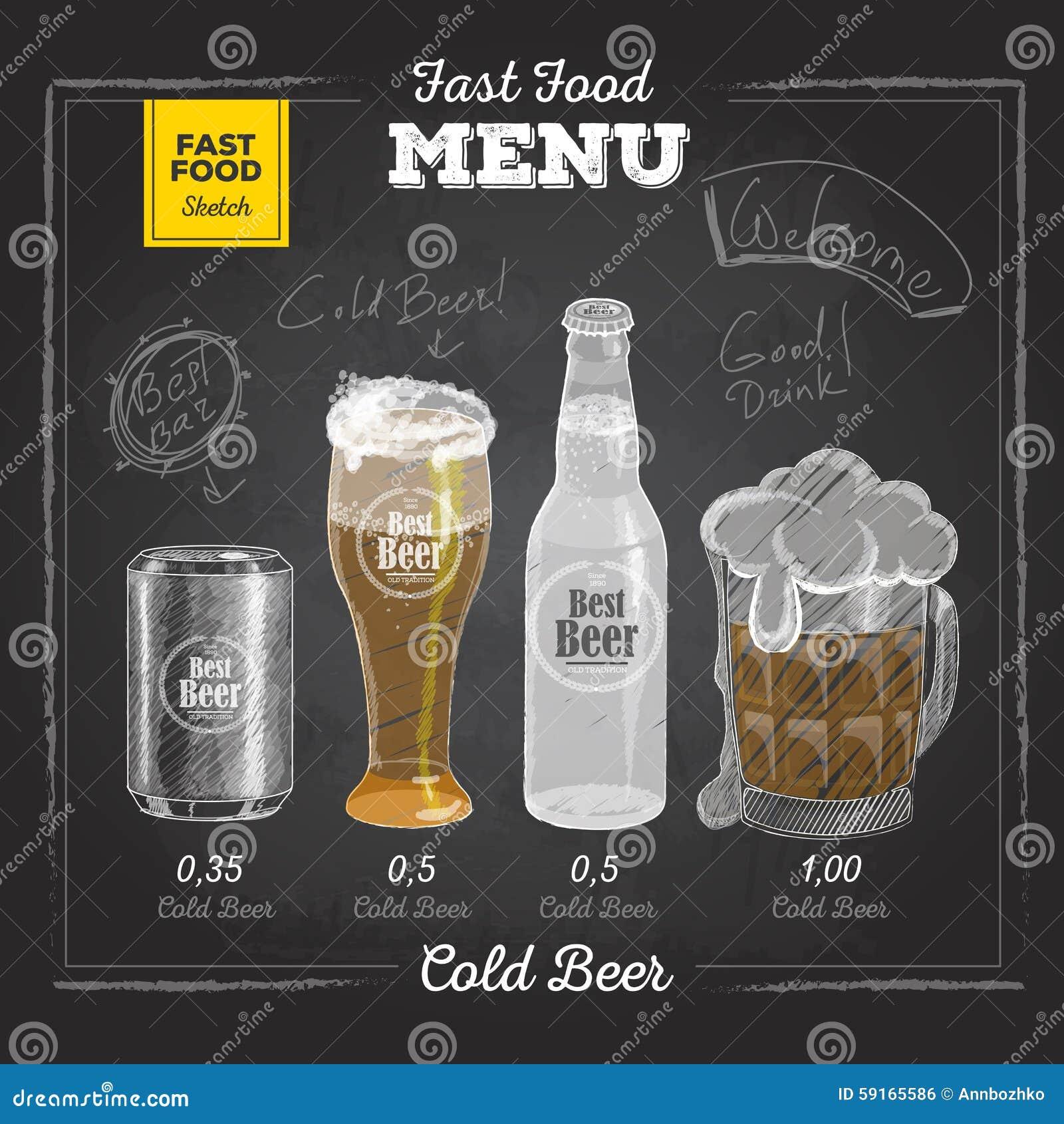 Vintage Chalk Drawing Fast Food Menu Cold Beer Stock