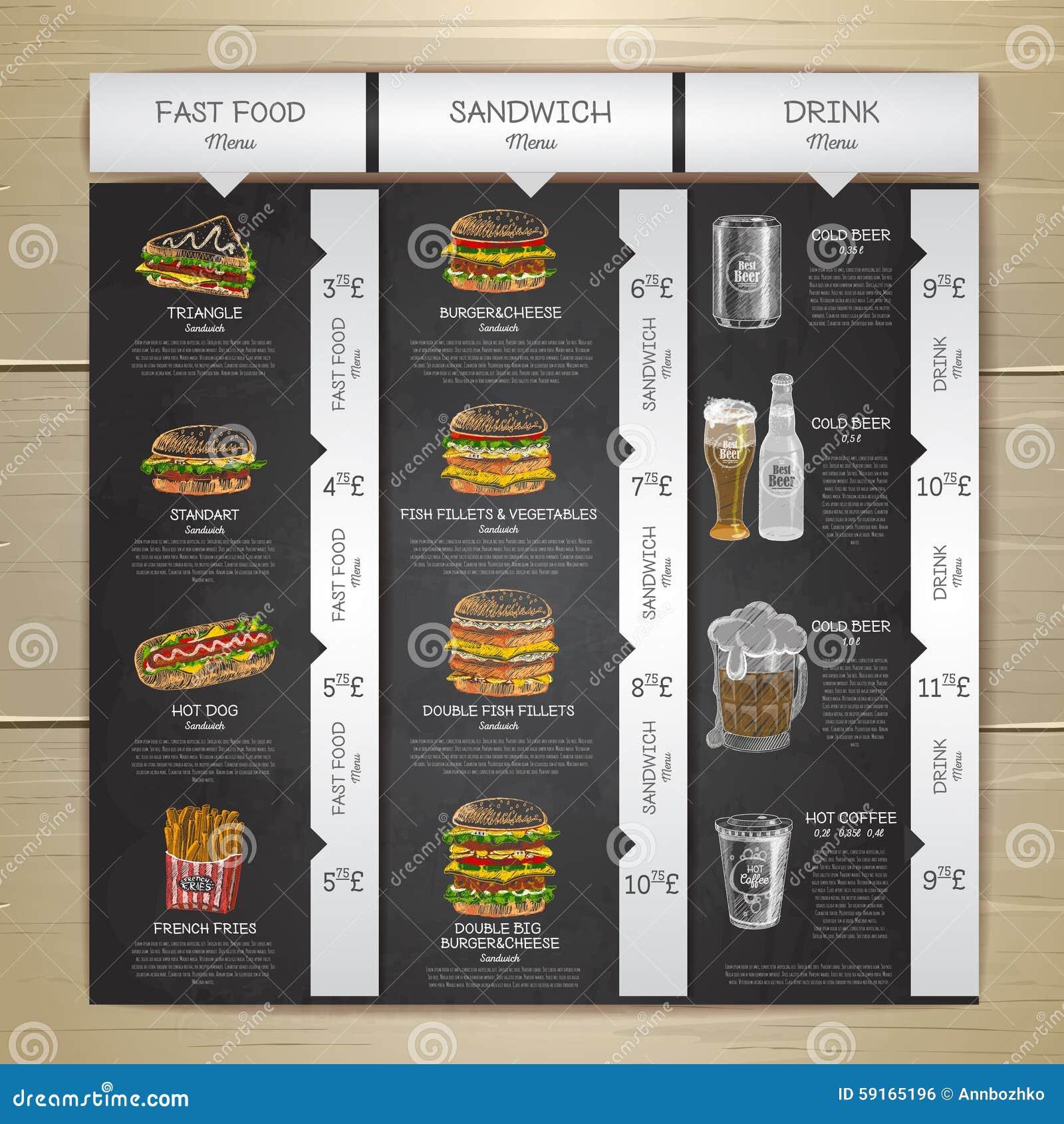 vintage chalk drawing fast food menu sandwich sketch stock vector image 59165196. Black Bedroom Furniture Sets. Home Design Ideas