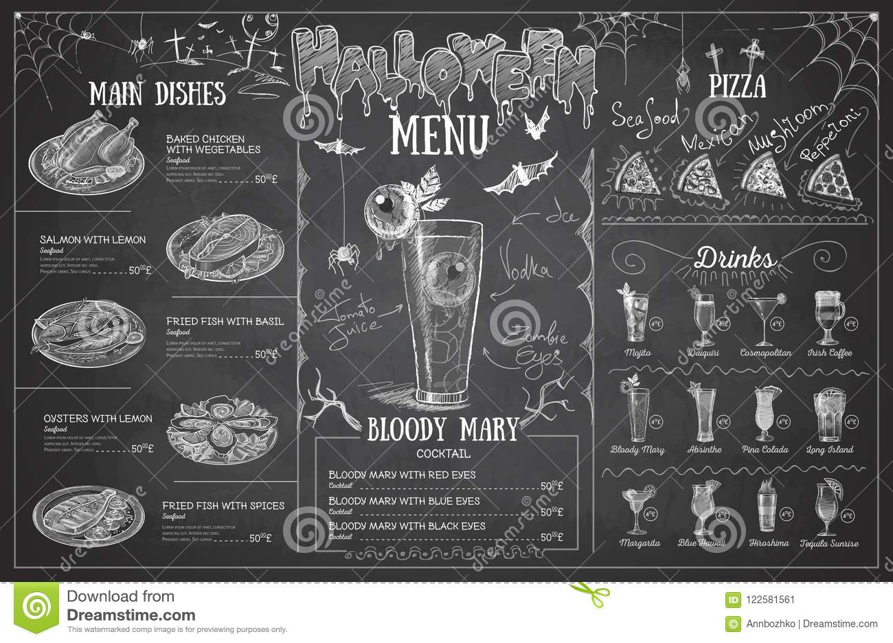 Vintage Chalk Drawing Halloween Menu Design Restaurant Menu Stock Vector Illustration Of Chalk Corporate 122581561