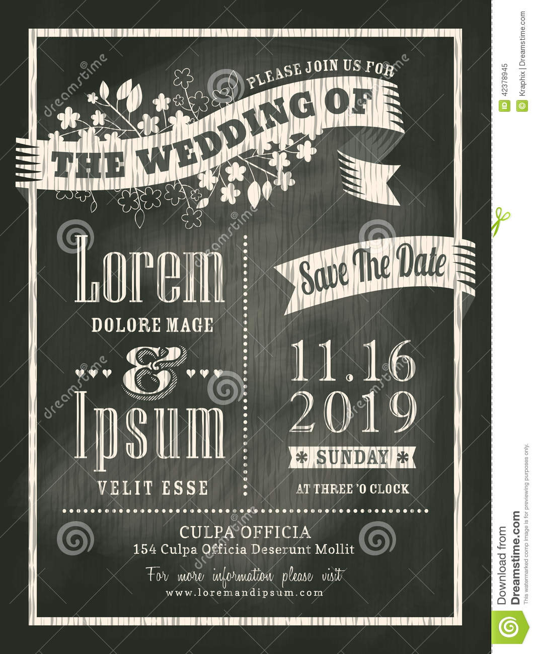 Vintage Chalkboard Wedding Invitation Card Background Stock Vector