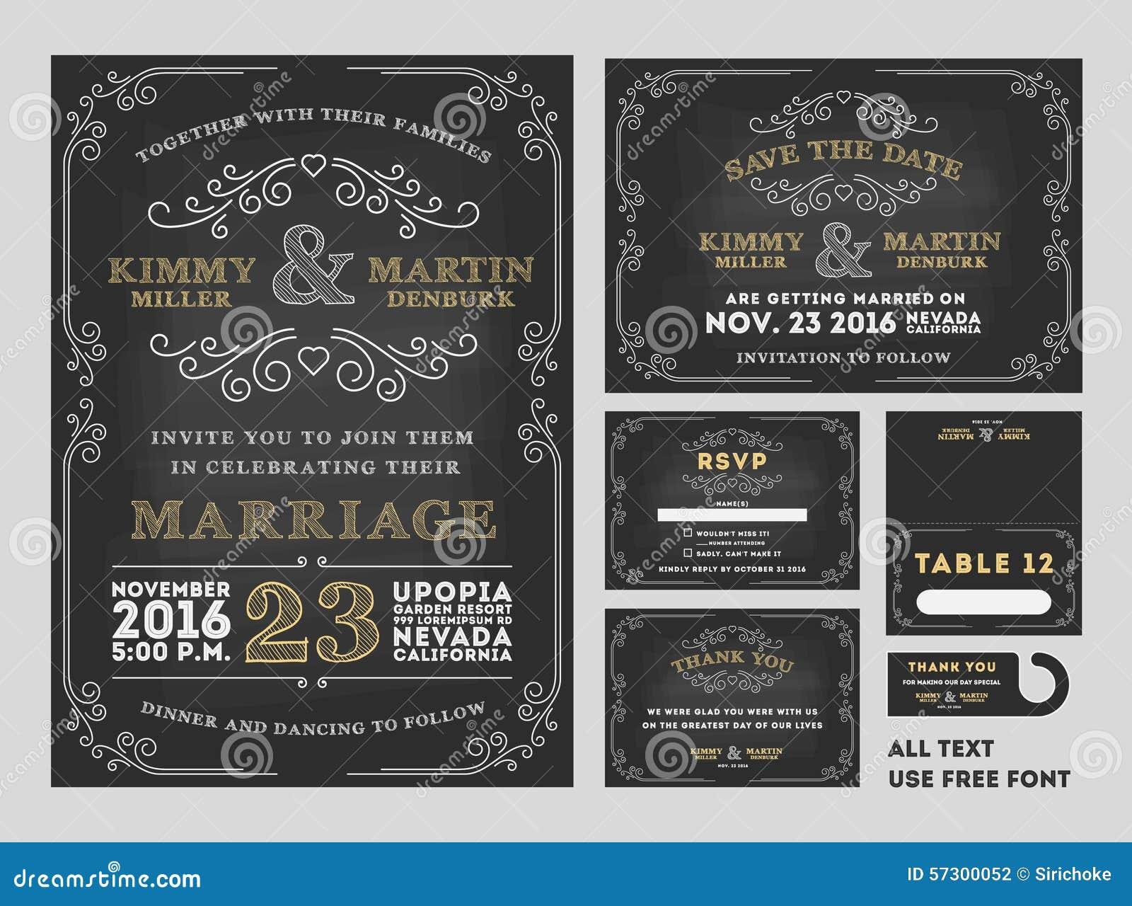 Wedding Invitations With Rsvp Cards Included: Vintage Chalkboard Wedding Invitations Design Sets Stock