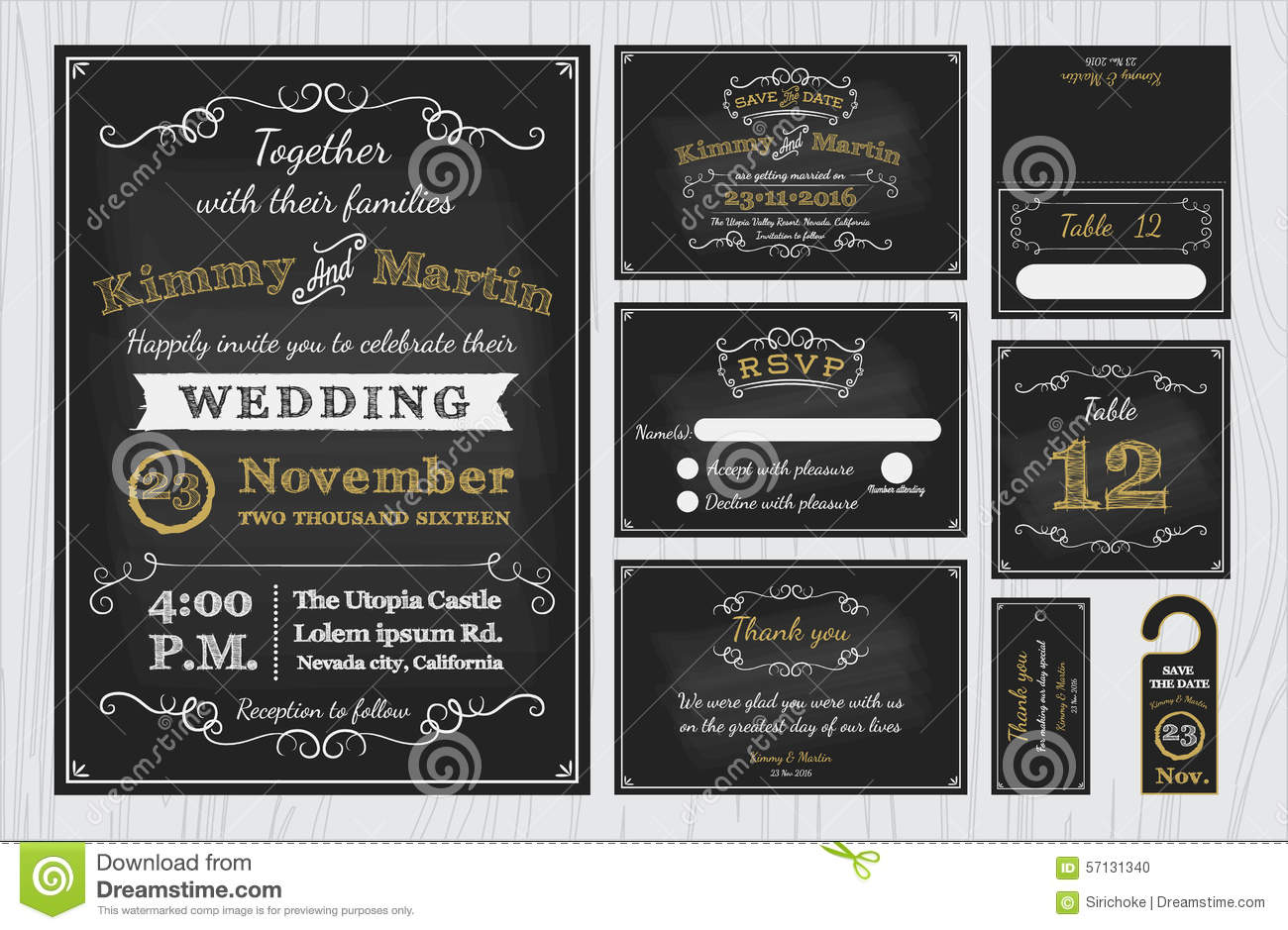 Vintage Chalkboard Wedding Invitations Design Sets Include – Wedding Invite Card Stock
