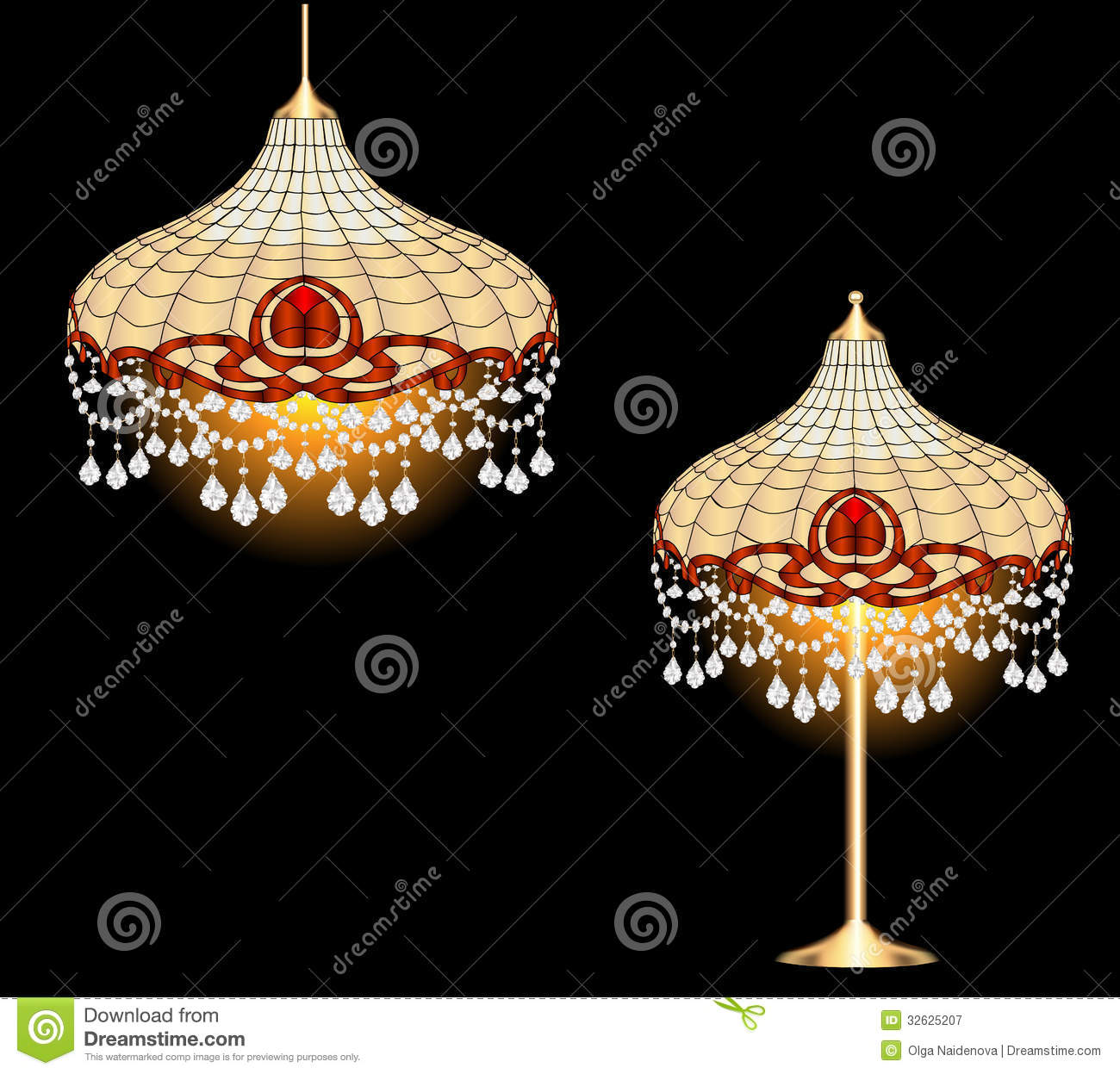 Vintage Chandelier And Table Lamp With Crystal Pen Royalty
