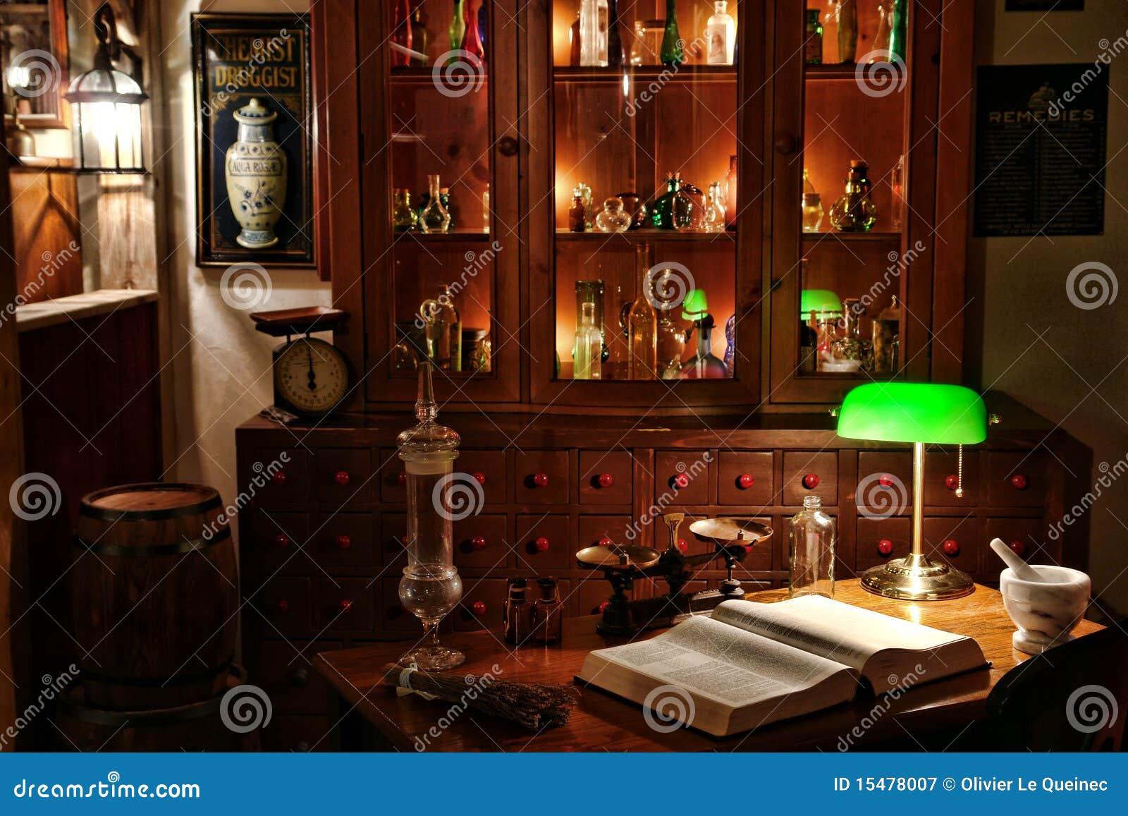 Vintage Chemist Desk in Antique Apothecary Shop