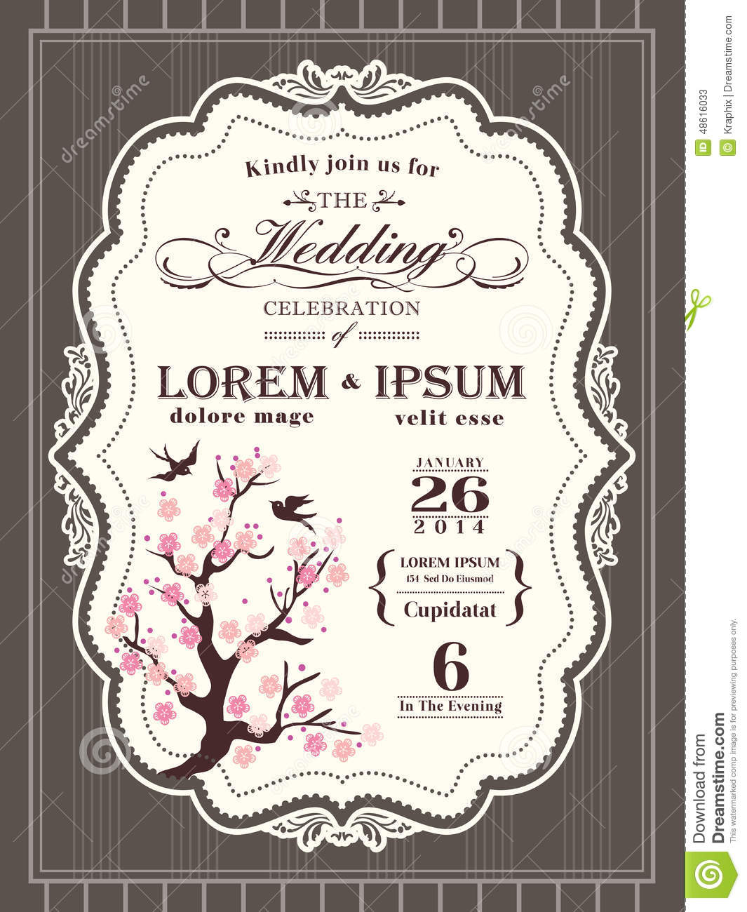 vintage cherry blossom wedding invitation border and frame stock vector image 48616033. Black Bedroom Furniture Sets. Home Design Ideas